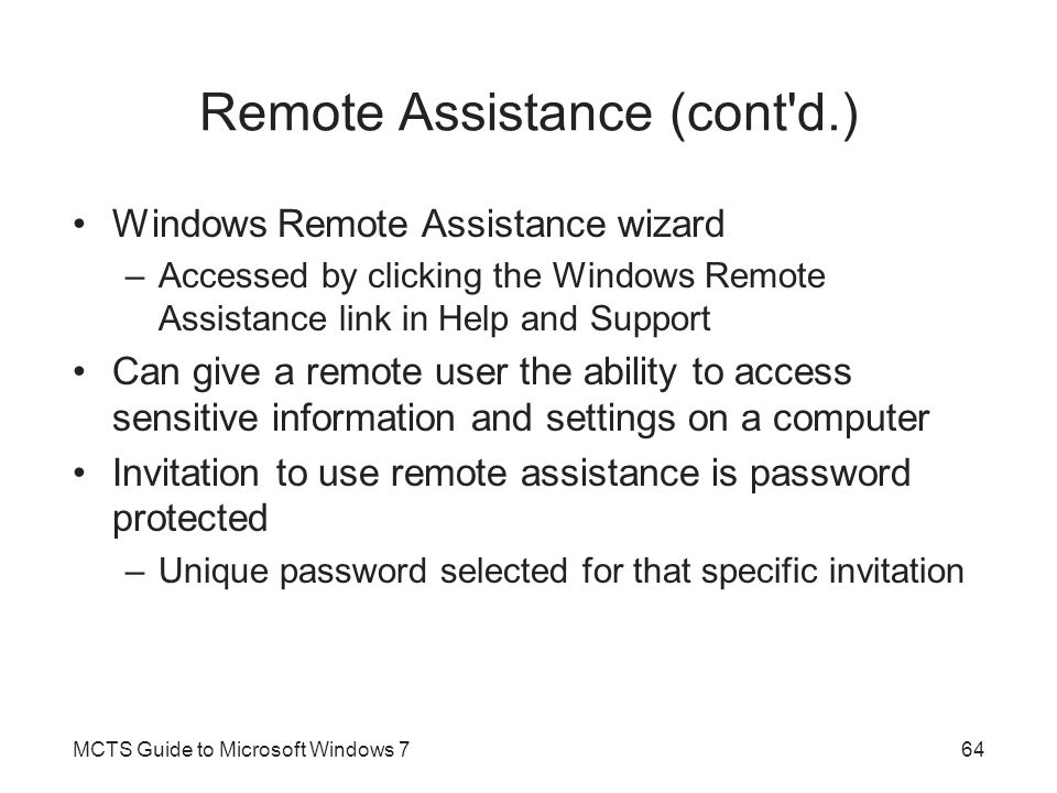 Remote Assistance (cont d.)