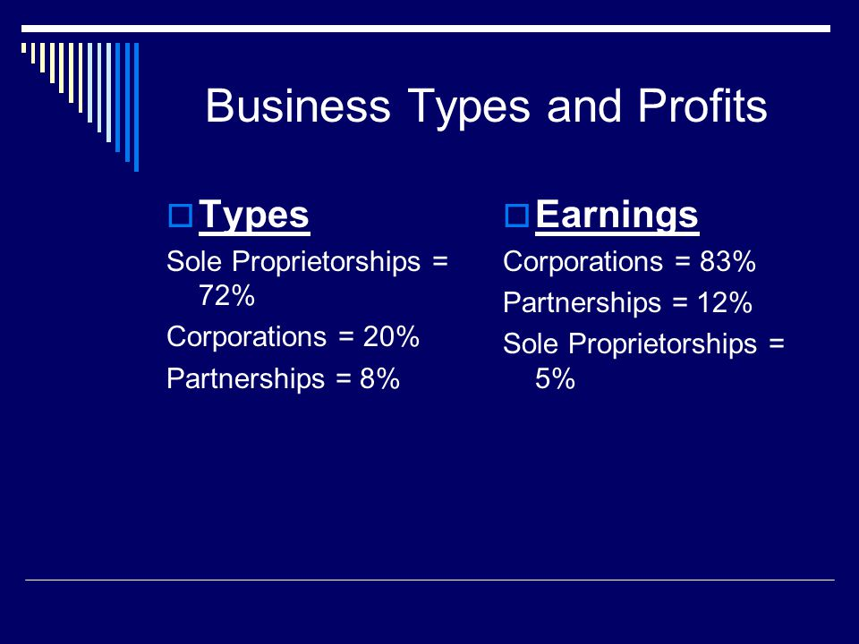 Business Types and Profits