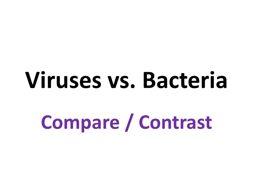Viruses vs. Bacteria Compare / Contrast