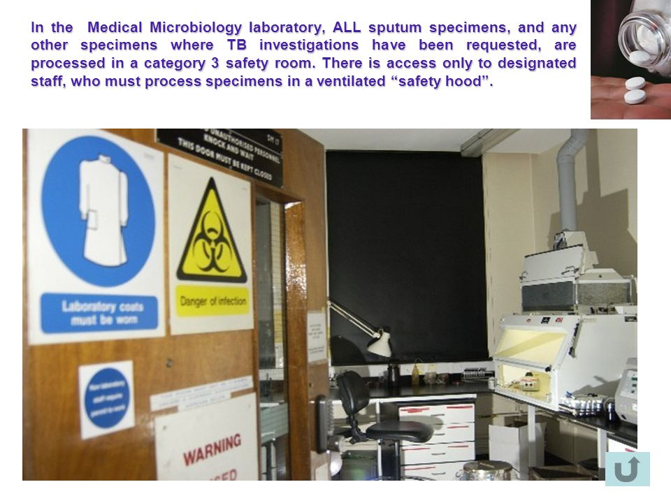 In the Medical Microbiology laboratory, ALL sputum specimens, and any other specimens where TB investigations have been requested, are processed in a category 3 safety room.