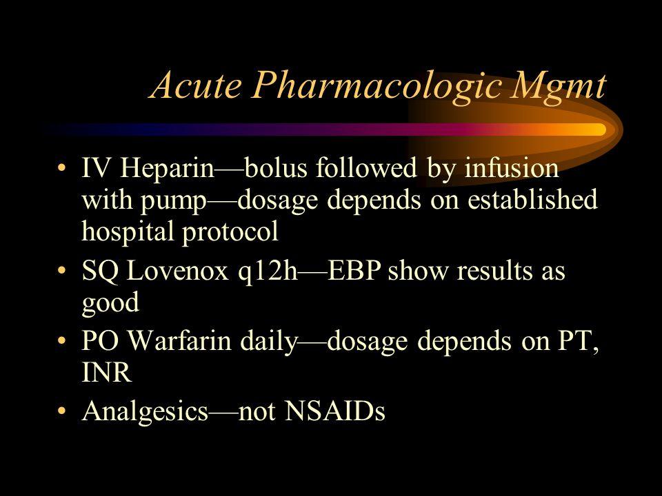 Acute Pharmacologic Mgmt