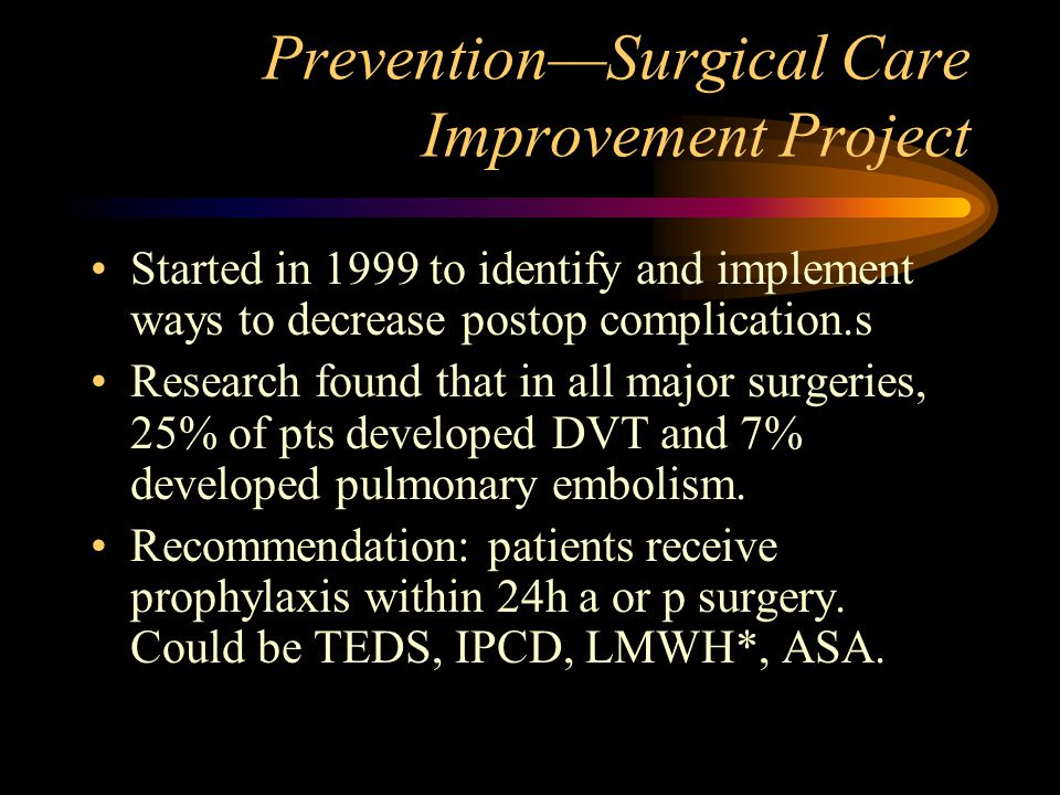 Prevention—Surgical Care Improvement Project