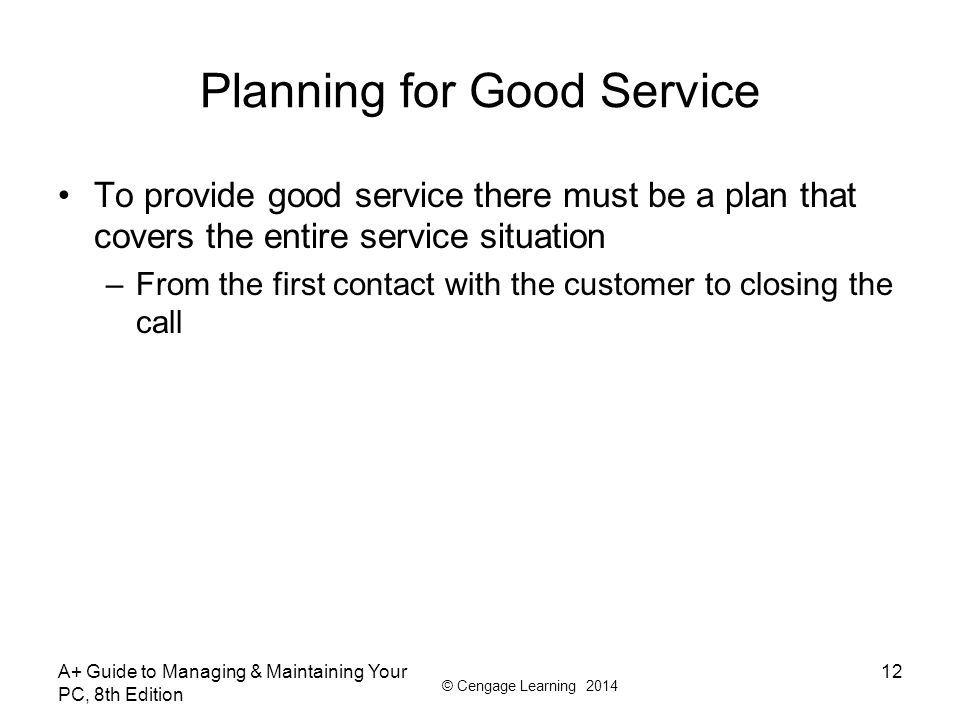 Planning for Good Service