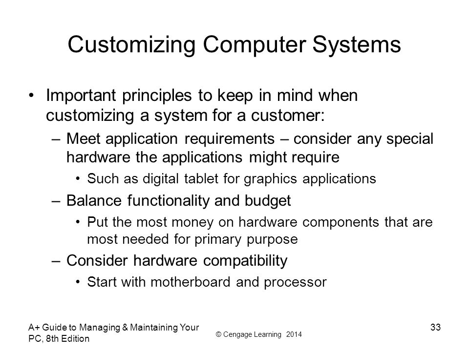 Customizing Computer Systems