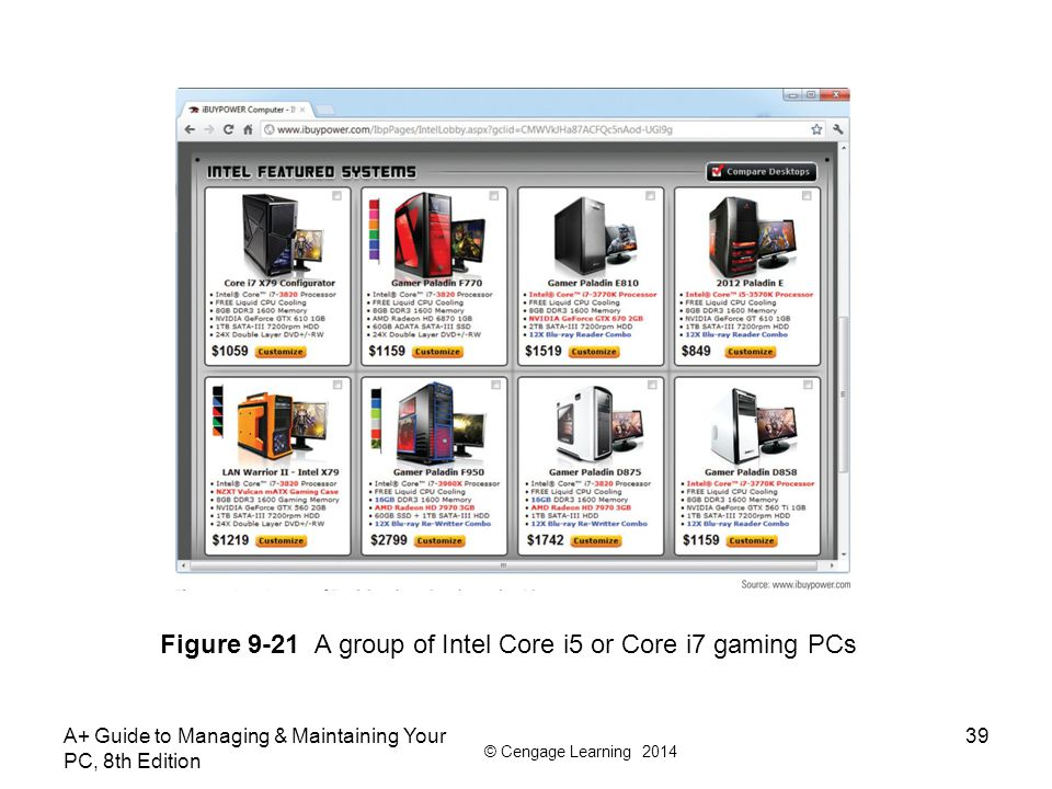 Figure 9-21 A group of Intel Core i5 or Core i7 gaming PCs