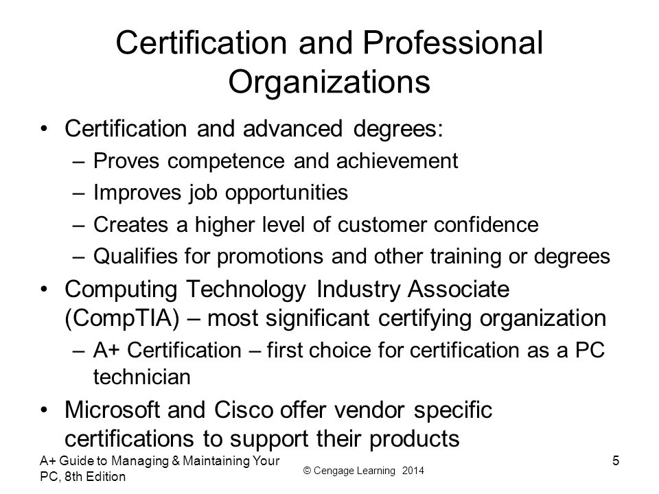 Certification and Professional Organizations