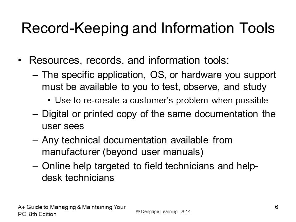 Record-Keeping and Information Tools