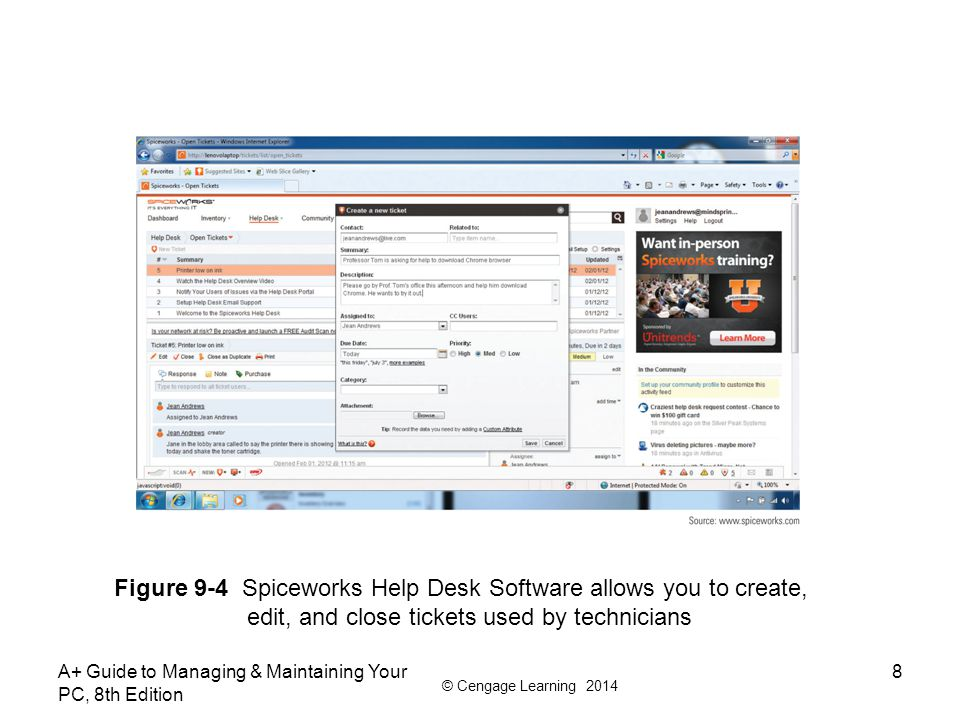 Figure 9-4 Spiceworks Help Desk Software allows you to create,