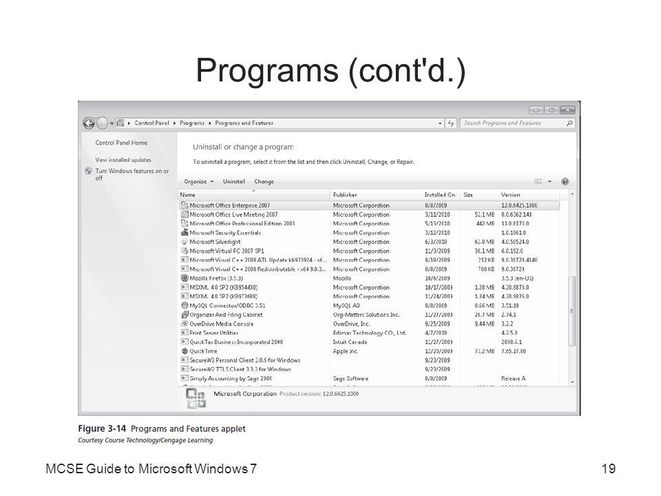 Programs (cont d.) MCSE Guide to Microsoft Windows 7