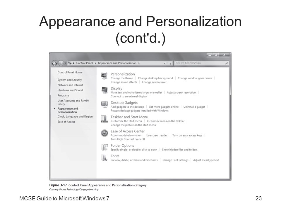 Appearance and Personalization (cont d.)