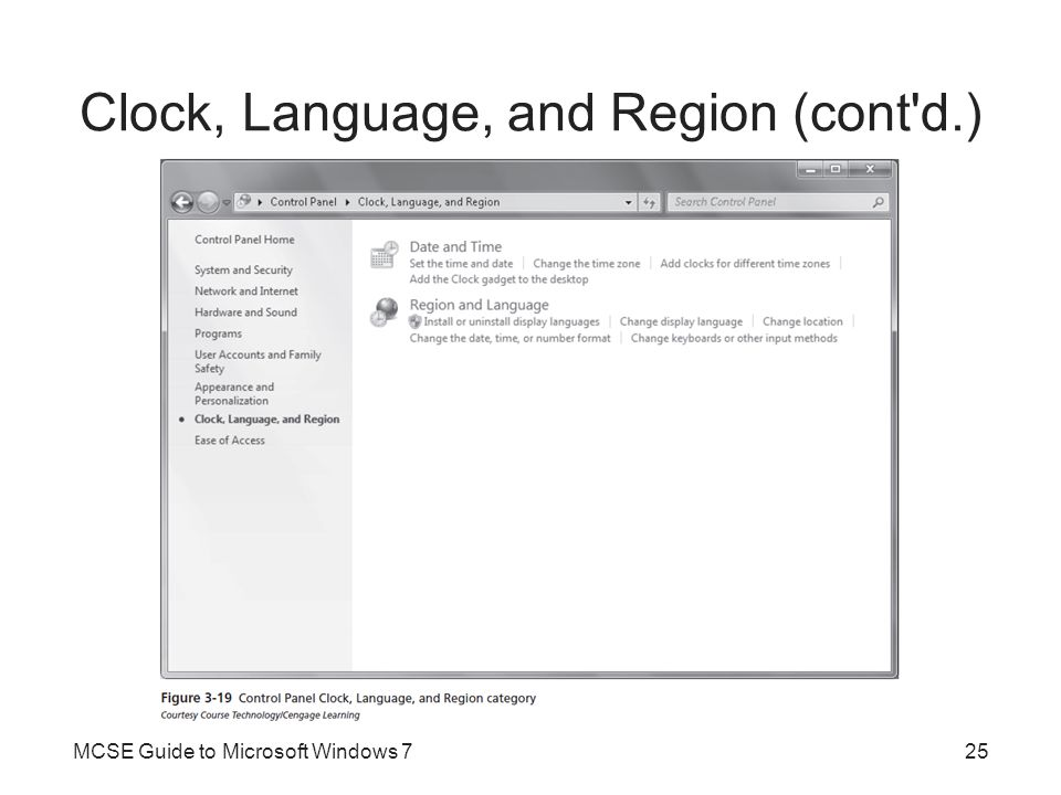 Clock, Language, and Region (cont d.)