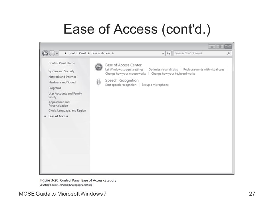 Ease of Access (cont d.) MCSE Guide to Microsoft Windows 7