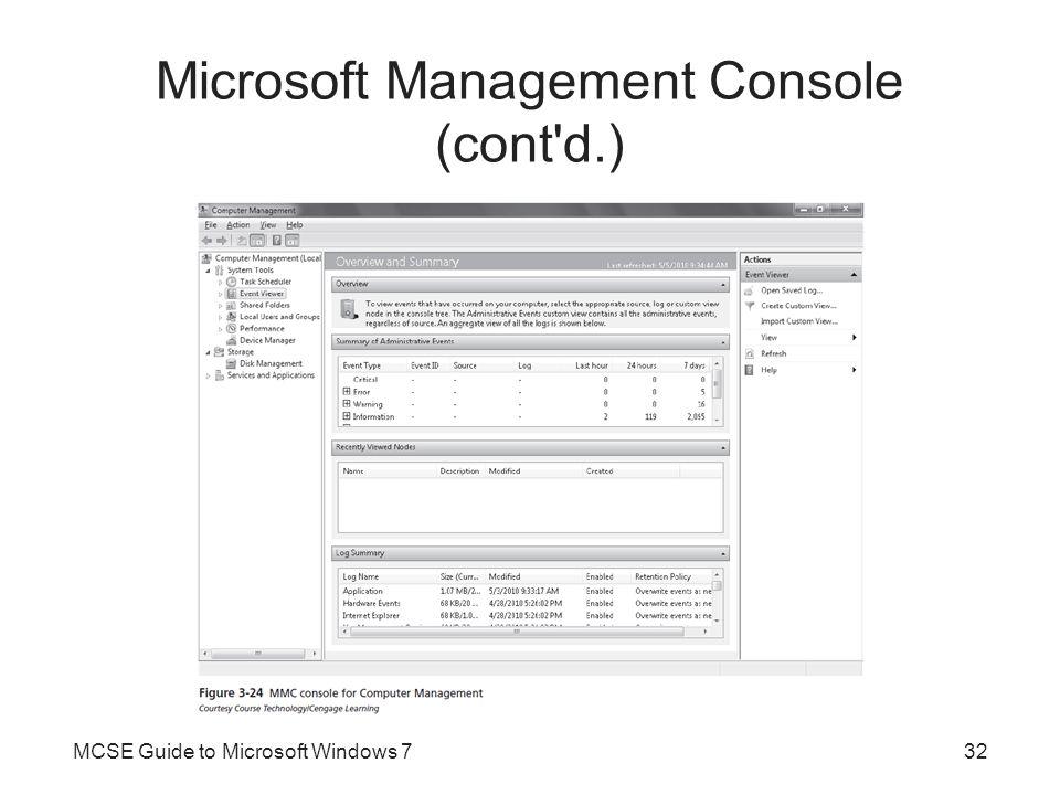 Microsoft Management Console (cont d.)