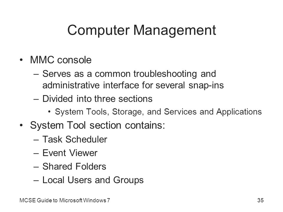 Computer Management MMC console System Tool section contains: