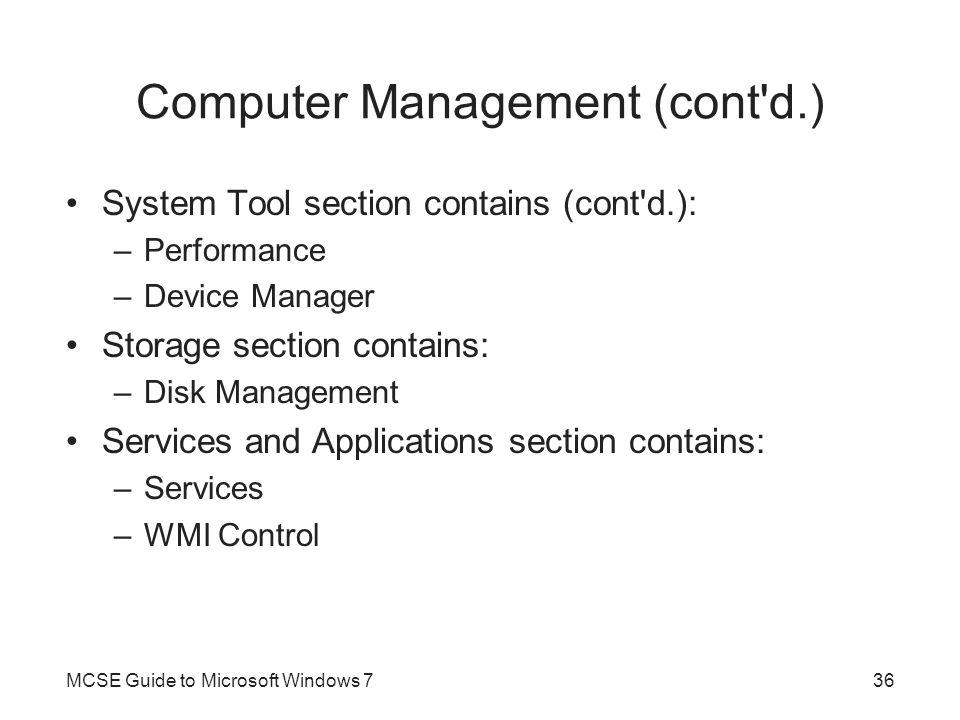 Computer Management (cont d.)
