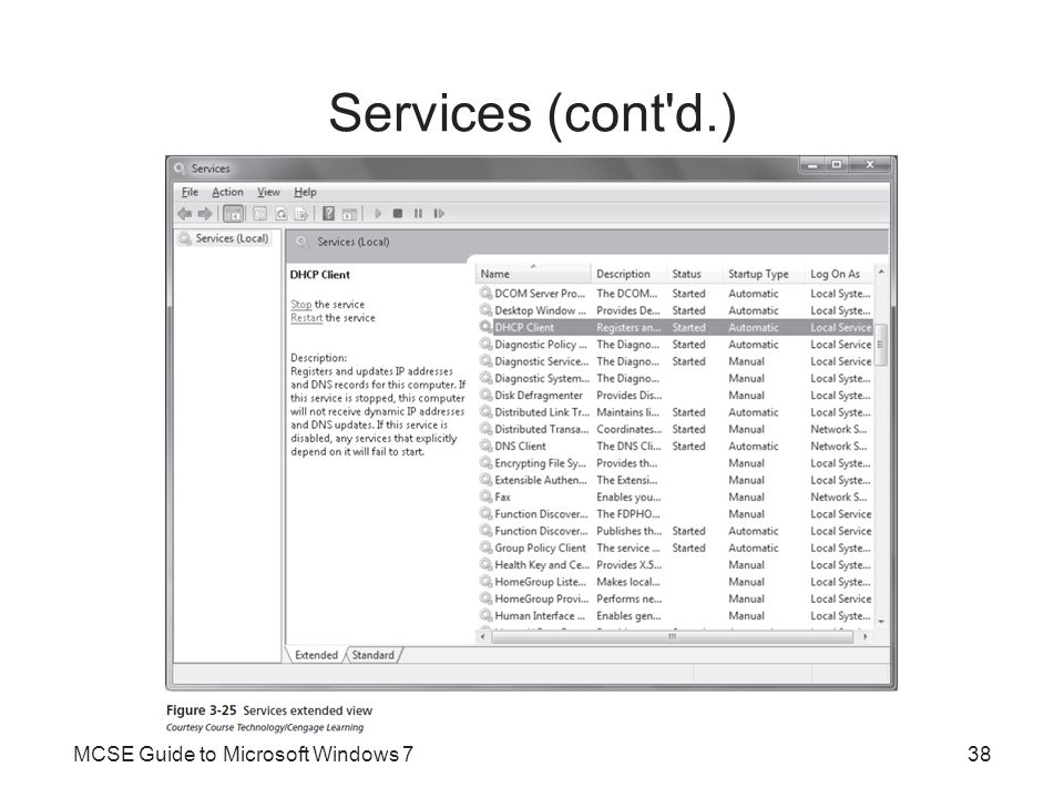 Services (cont d.) MCSE Guide to Microsoft Windows 7