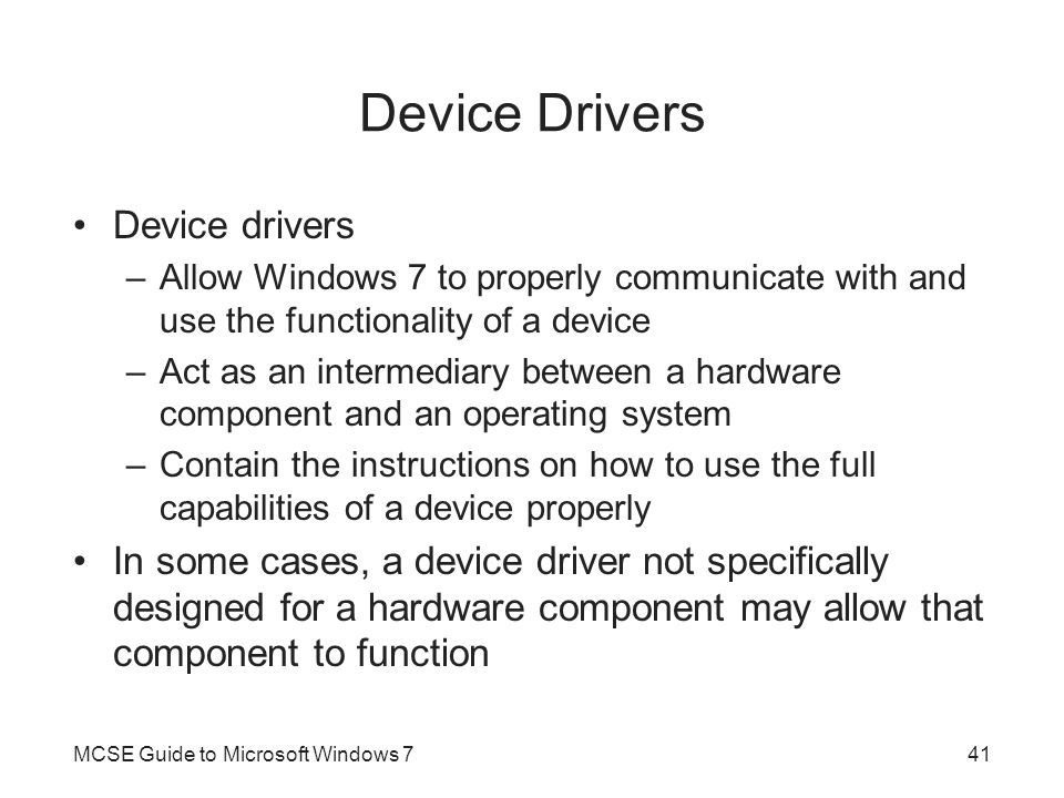 Device Drivers Device drivers