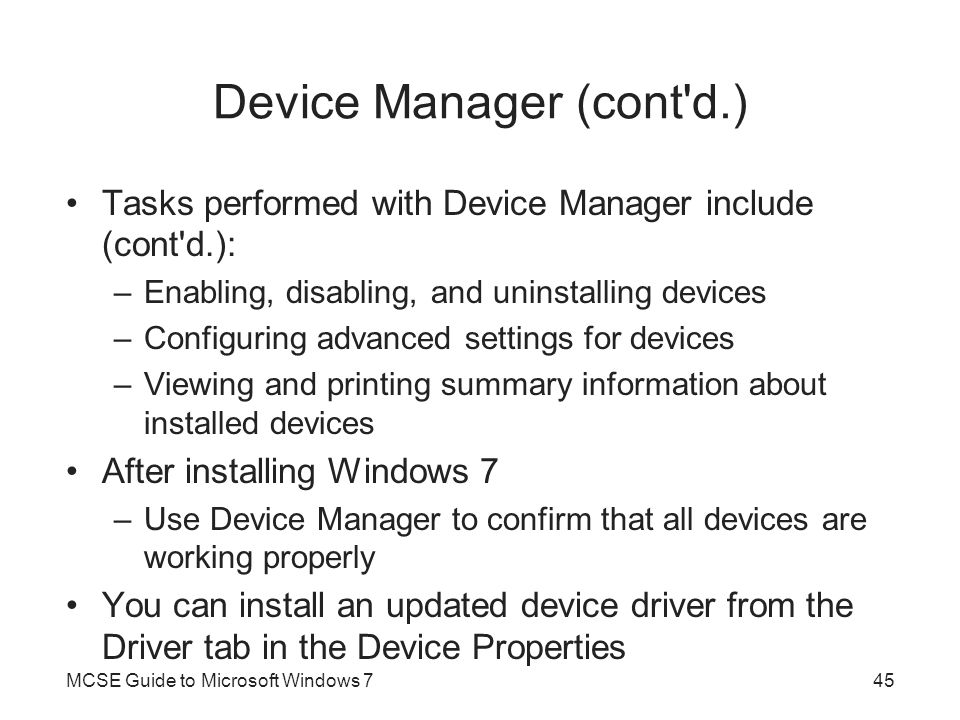 Device Manager (cont d.)
