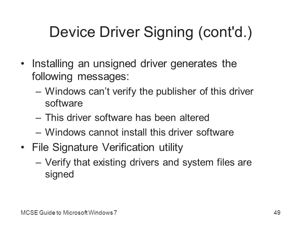Device Driver Signing (cont d.)