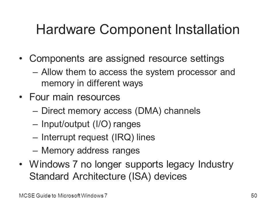 Hardware Component Installation