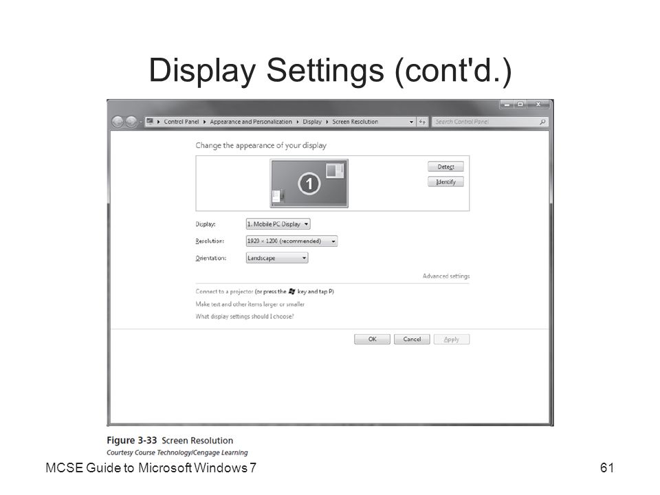 Display Settings (cont d.)