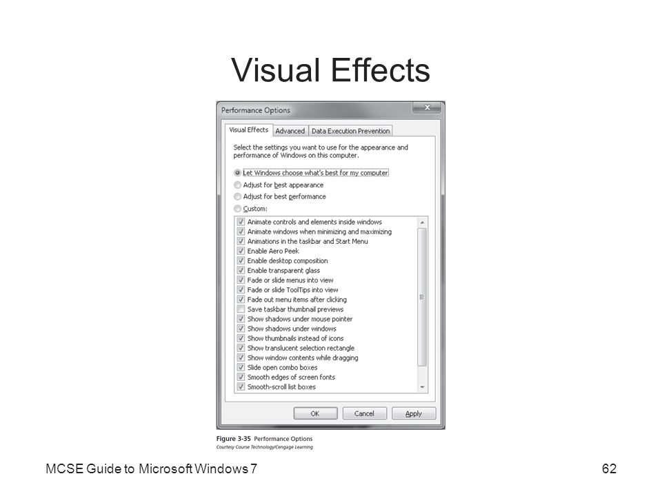 Visual Effects MCSE Guide to Microsoft Windows 7