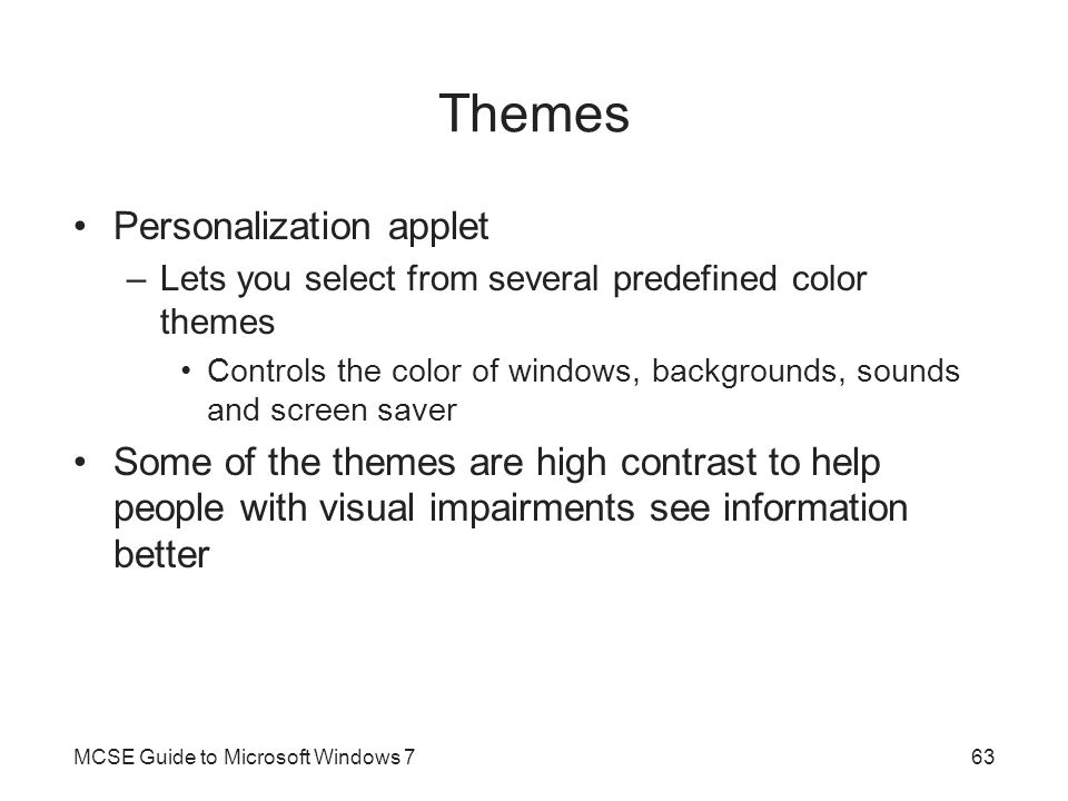Themes Personalization applet