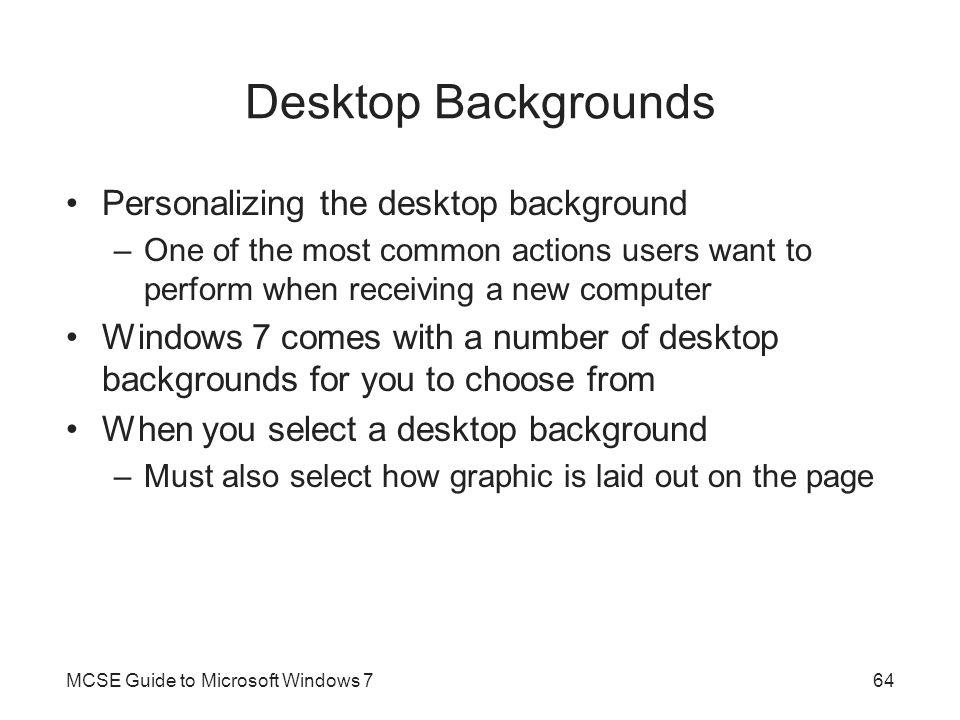 Desktop Backgrounds Personalizing the desktop background