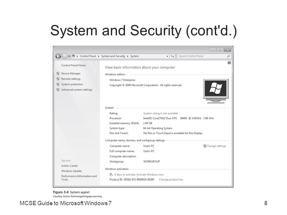 System and Security (cont d.)