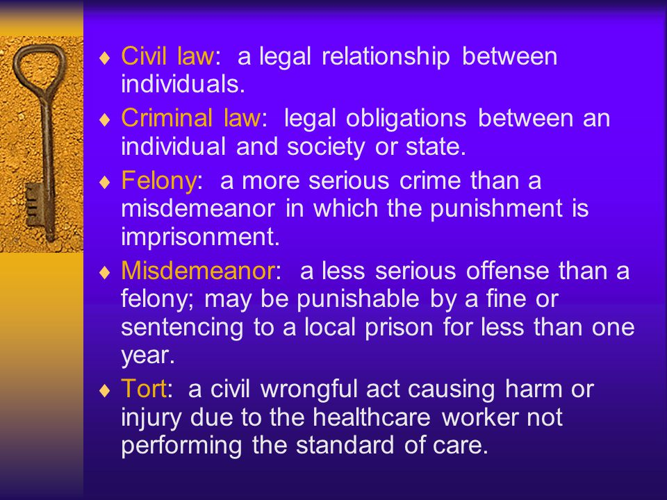 Civil law: a legal relationship between individuals.