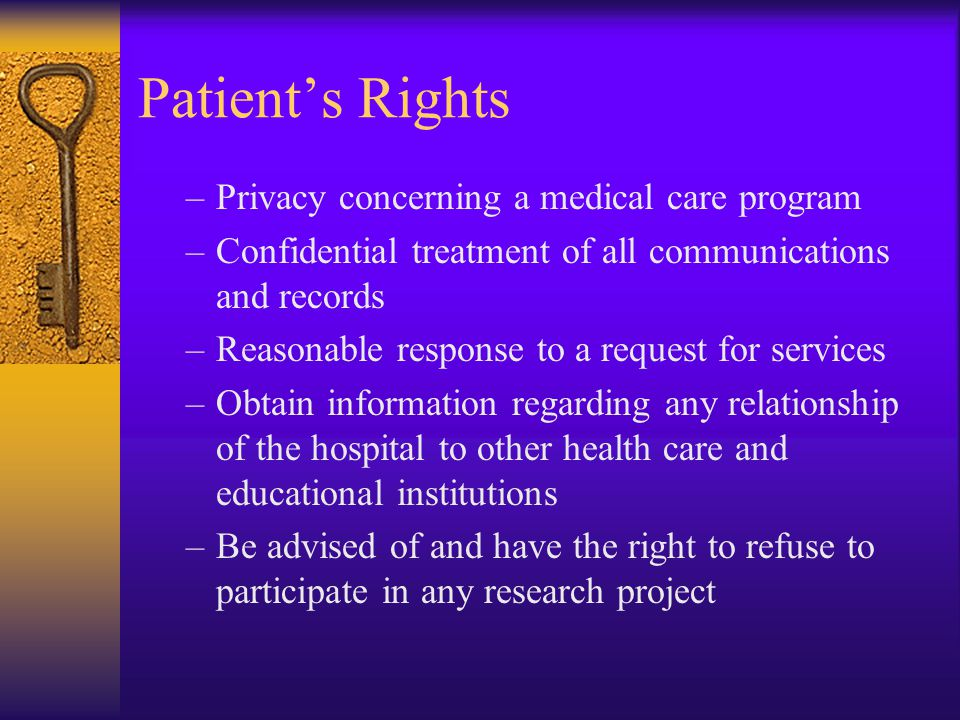 Patient's Rights Privacy concerning a medical care program