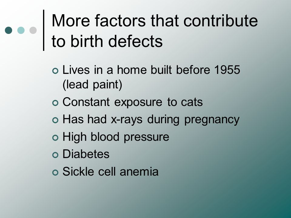 More factors that contribute to birth defects
