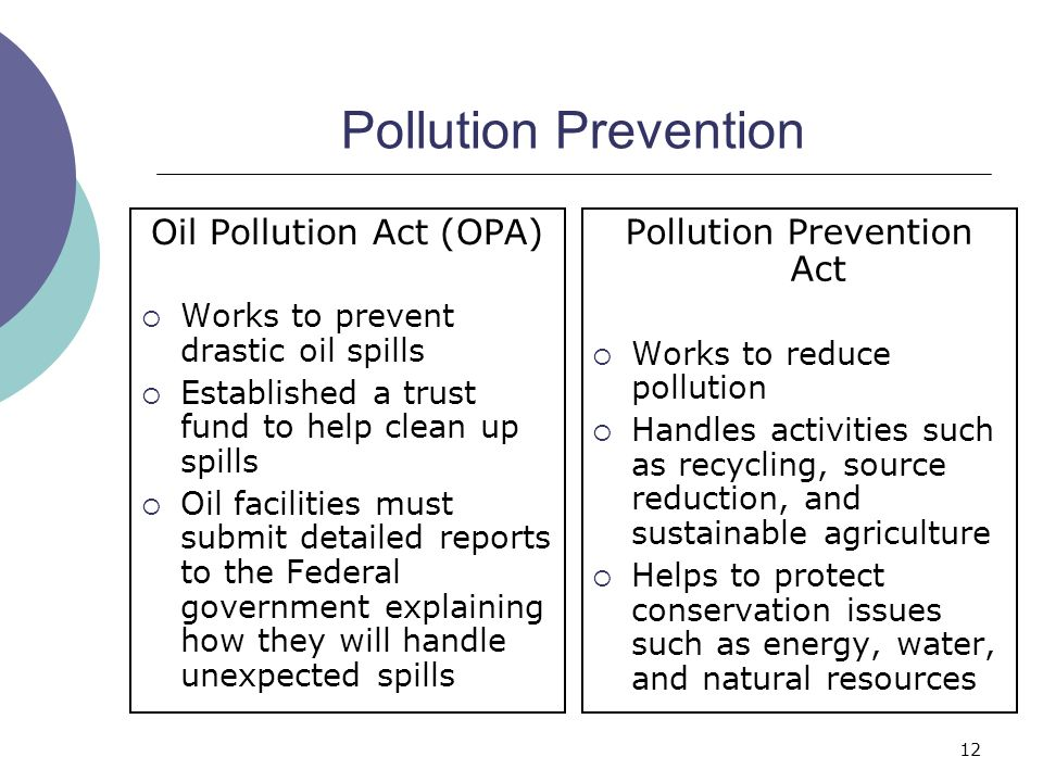 Pollution Prevention Oil Pollution Act (OPA) Pollution Prevention Act