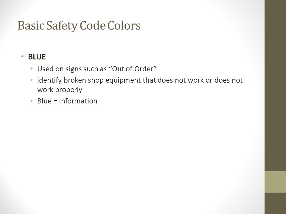 Basic Safety Code Colors