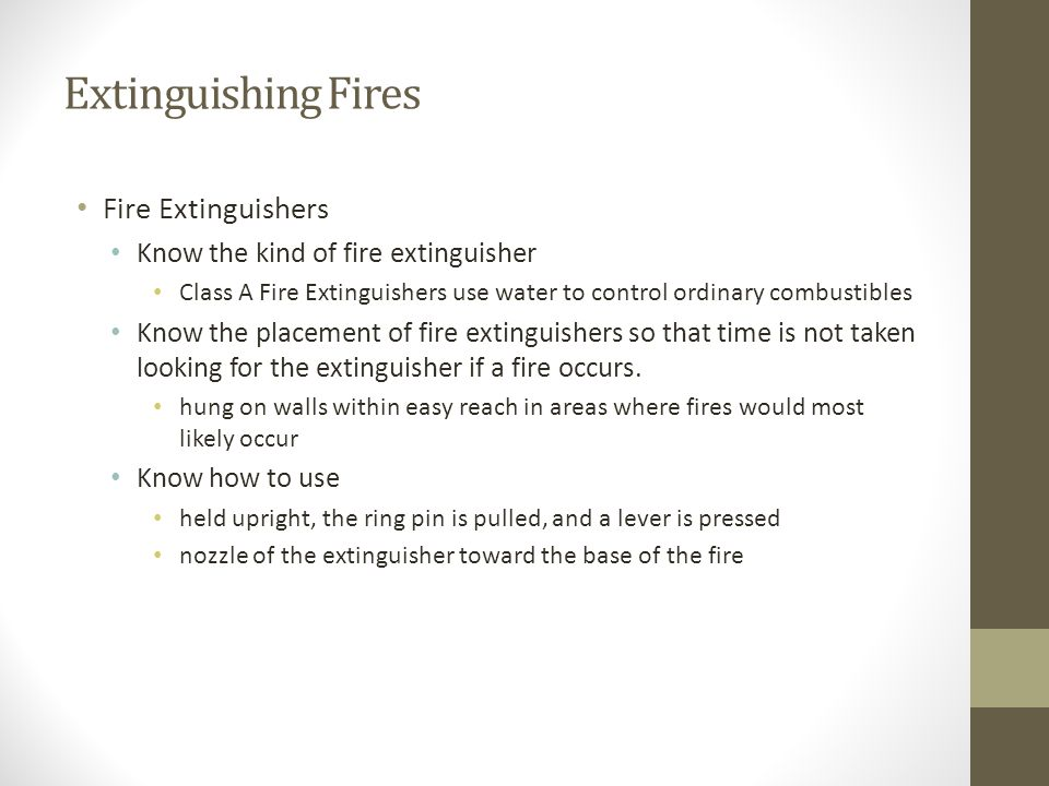 Extinguishing Fires Fire Extinguishers