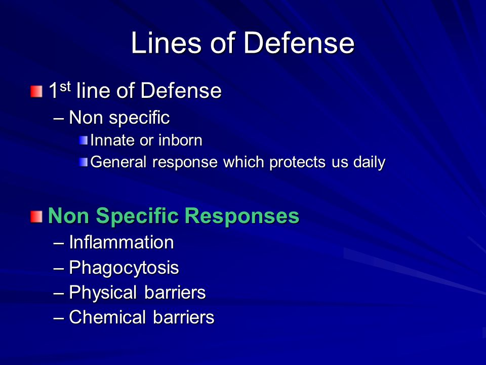 Lines of Defense 1st line of Defense Non Specific Responses