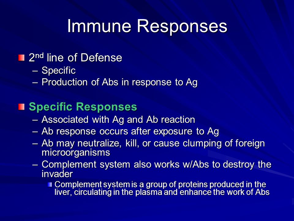 Immune Responses 2nd line of Defense Specific Responses Specific