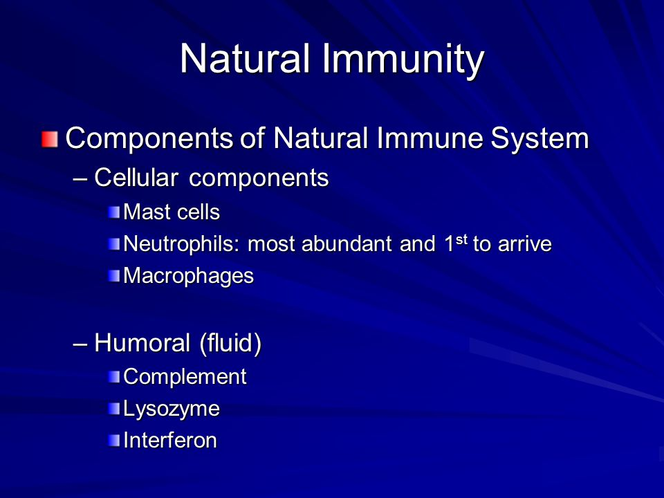 Natural Immunity Components of Natural Immune System