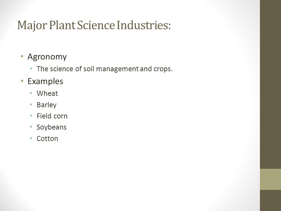 Major Plant Science Industries: