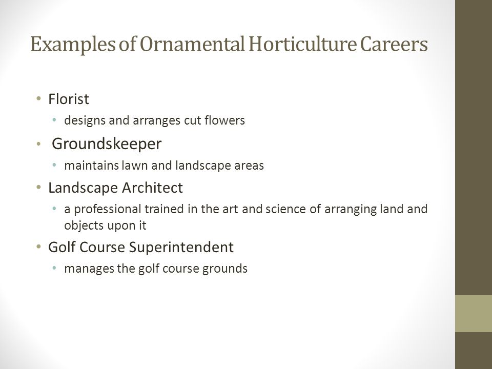 Examples of Ornamental Horticulture Careers