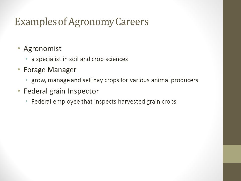 Examples of Agronomy Careers