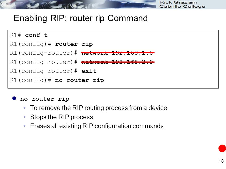 Enabling RIP: router rip Command