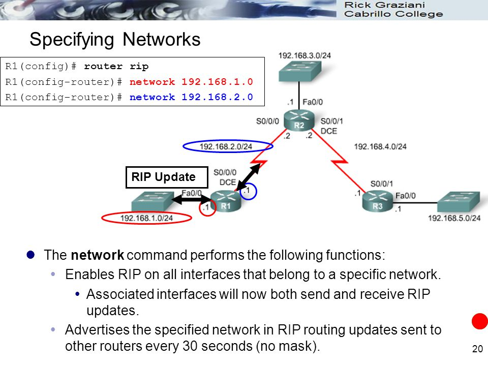 Specifying Networks R1(config)# router rip. R1(config-router)# network 192.168.1.0. R1(config-router)# network 192.168.2.0.