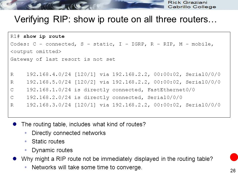 Verifying RIP: show ip route on all three routers…