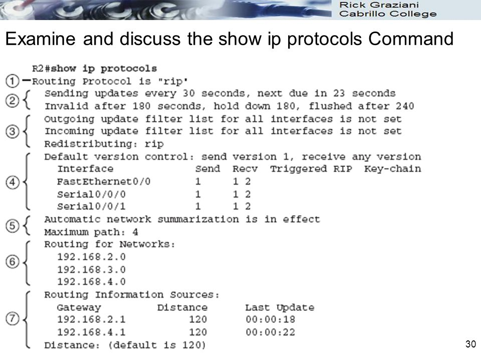 Examine and discuss the show ip protocols Command