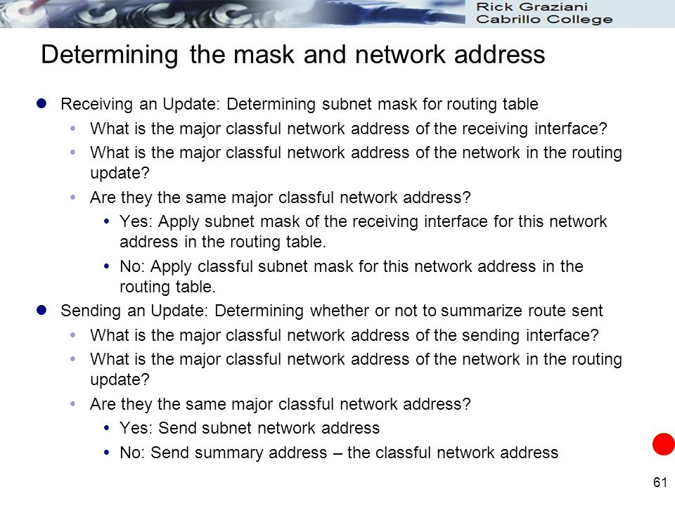 Determining the mask and network address