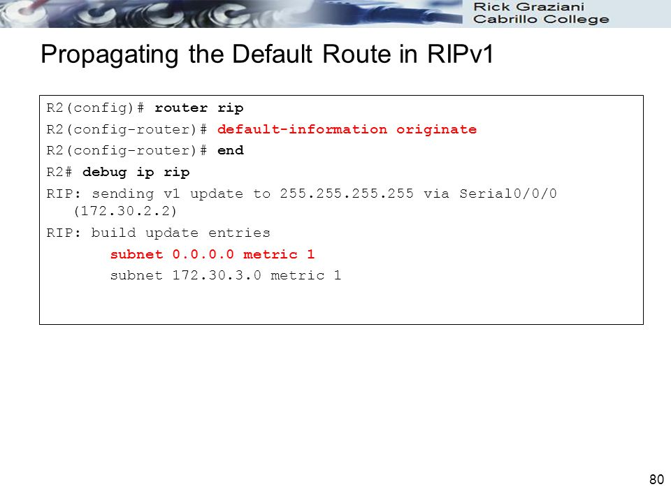 Propagating the Default Route in RIPv1
