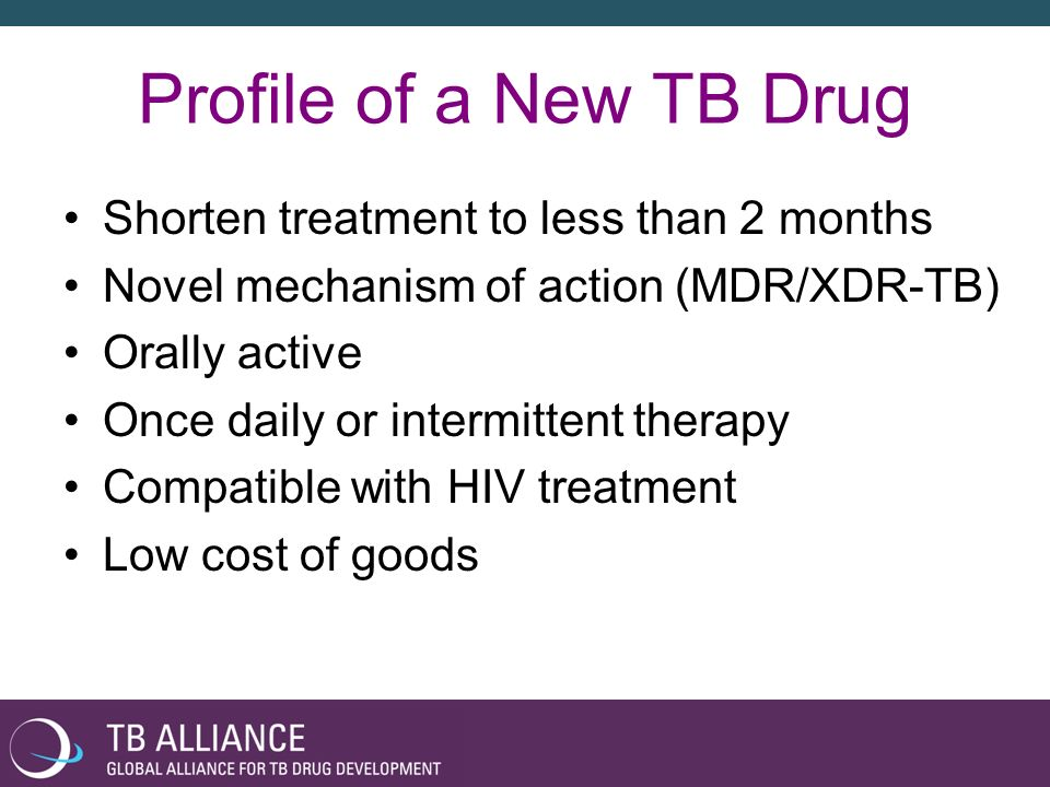 Profile of a New TB Drug Shorten treatment to less than 2 months