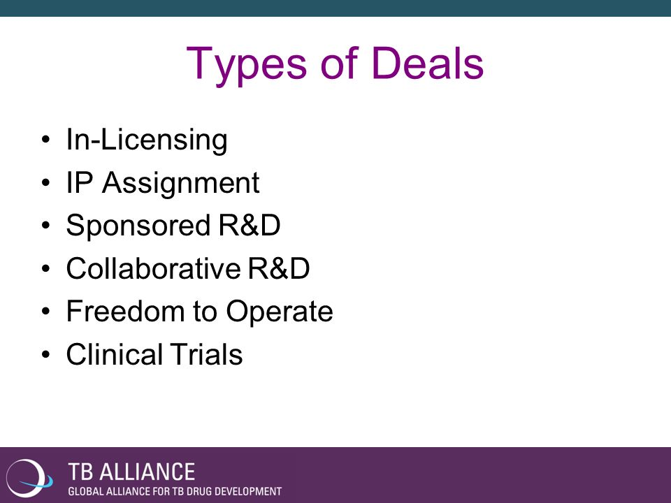 Types of Deals In-Licensing IP Assignment Sponsored R&D