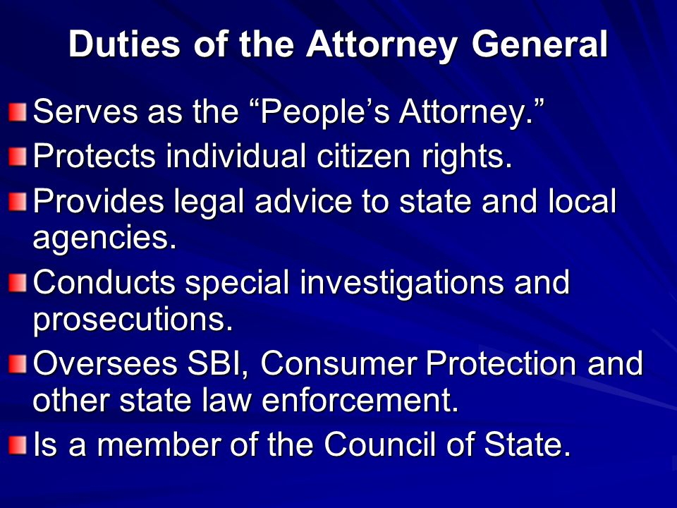 Duties of the Attorney General